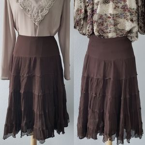 Lillie Rubin Mahogany Brown Silk Tiered Skirt